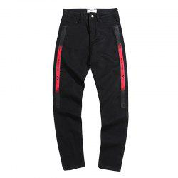 Men's Jeans Mid Waist Print Letter Leisure Slim Pants -