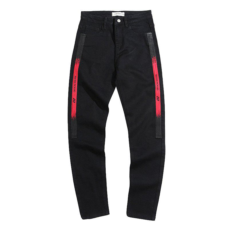 Shops Men's Jeans Mid Waist Print Letter Leisure Slim Pants