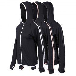 3Pcs Women's Sports Coats Outdoor Running Fitness Quick Drying Hooded Long Sleev -