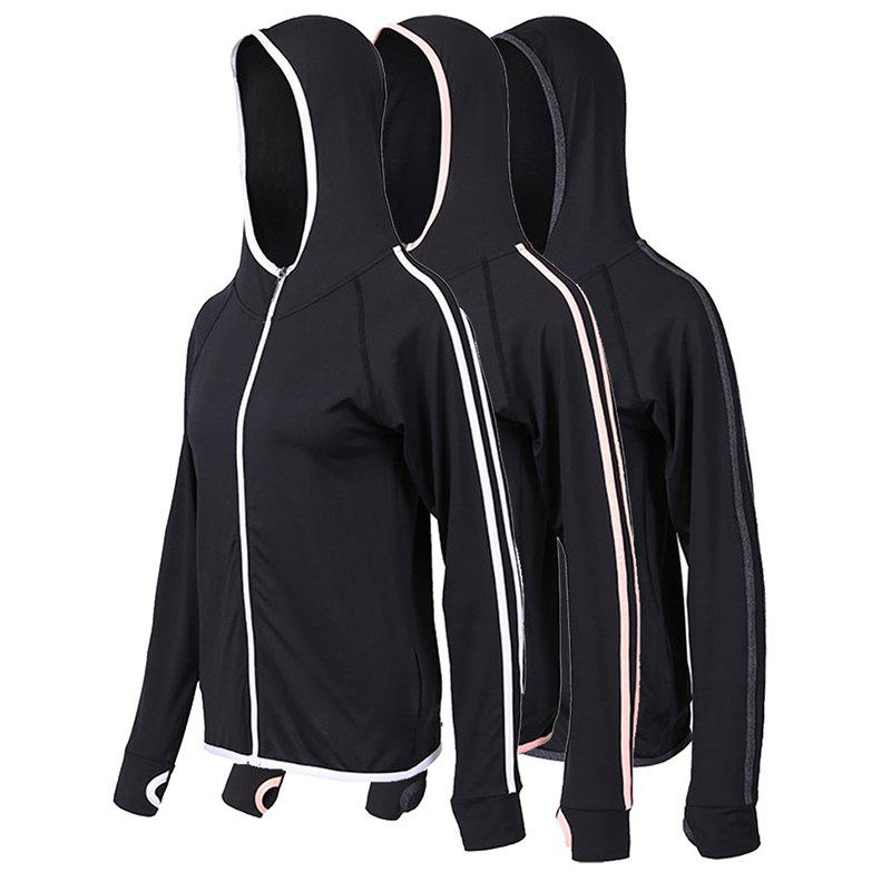 Chic 3Pcs Women's Sports Coats Outdoor Running Fitness Quick Drying Hooded Long Sleev