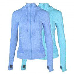 2Pcs Women's Sport Coats Solid Color Hooded Long Sleeve Quick Drying Zipper Coat -