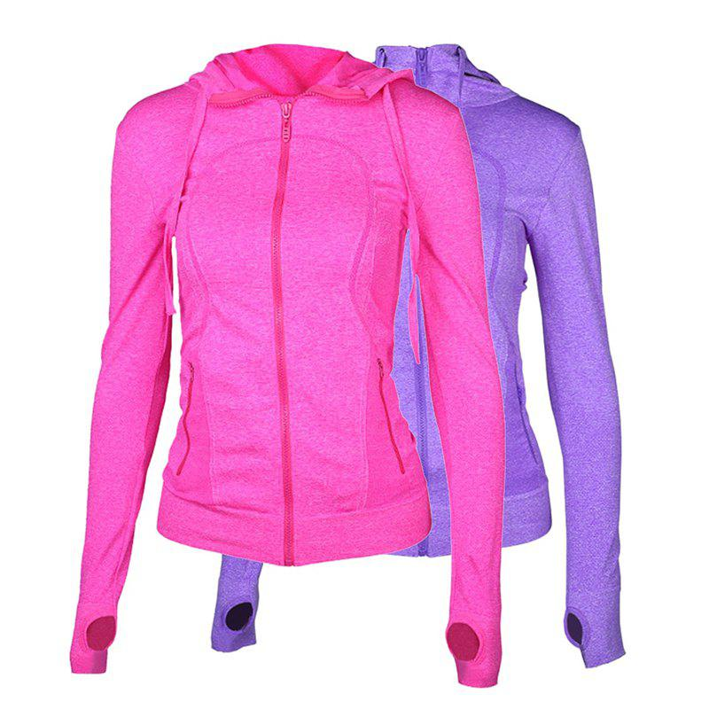 Affordable 2Pcs Women's Sport Coats Solid Color Hooded Long Sleeve Quick Drying Zipper Coat