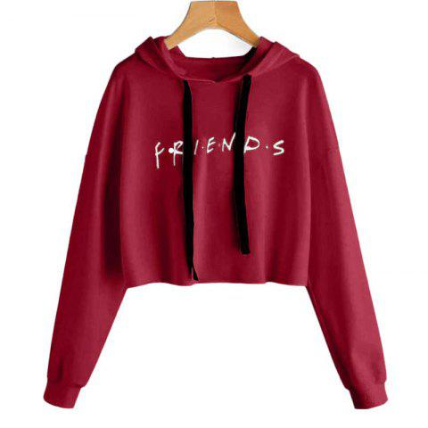 Letter Printed Long Sleeved Hooded Sweater