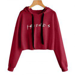 Letter Printed Long Sleeved Hooded Sweater -