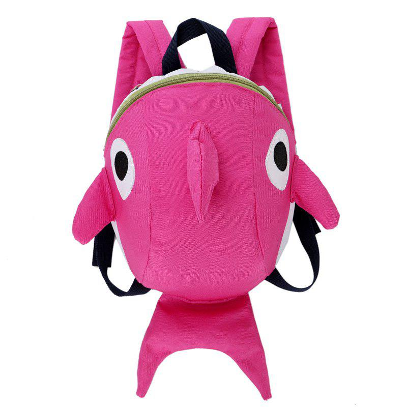 Cartoon Shark Kindergarten 3-7 Years Baby Sac à dos de voyage anti-perte Rose
