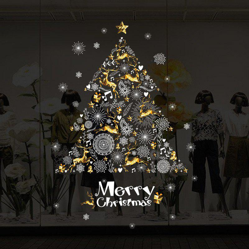 YEDUO Shop Window Decoration Wall Stickers Christmas Tree  Art Wall Poster Home