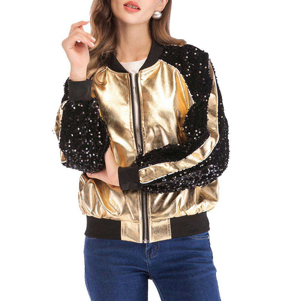 24065d184 Women Zipper Moto Cool Street Wear Autumn Winter Gold Faux Leather Coats