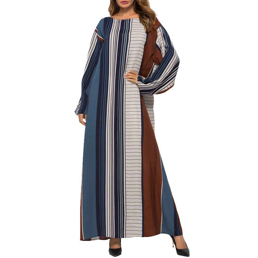 Outfit Middle East Arab loose Stripe print Maxi Dress