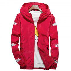 Embroidered Feather Men's Hooded Multi-Color Windproof Jacket -