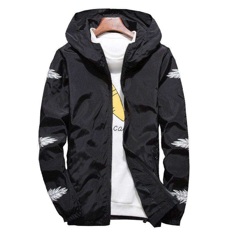 Trendy Embroidered Feather Men's Hooded Multi-Color Windproof Jacket