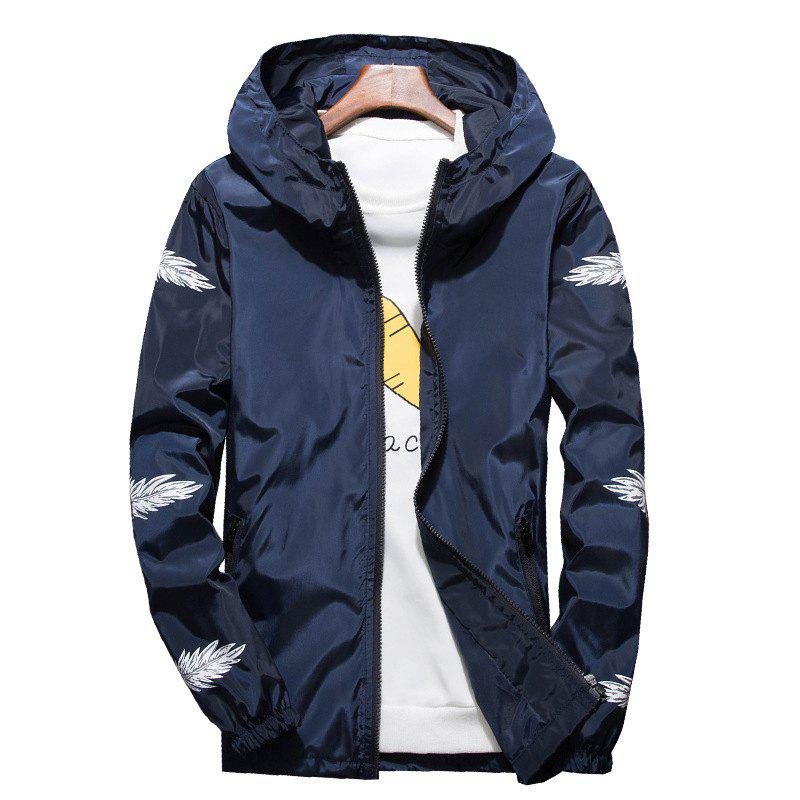 Online Embroidered Feather Men's Hooded Multi-Color Windproof Jacket