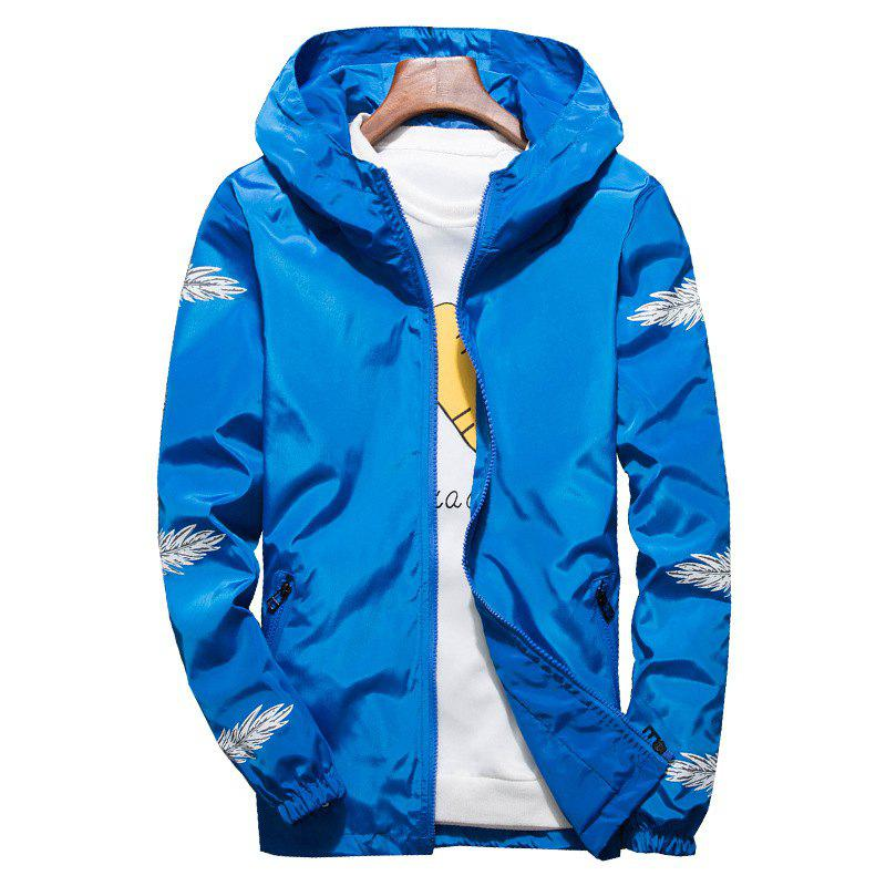 Hot Embroidered Feather Men's Hooded Multi-Color Windproof Jacket