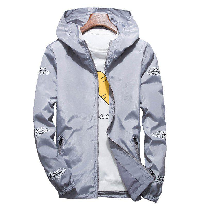 Latest Embroidered Feather Men's Hooded Multi-Color Windproof Jacket