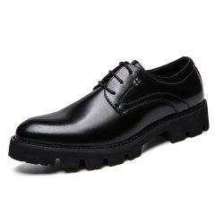 Men Gradient Thick Outsole Lace Up Casual Leather Shoes -