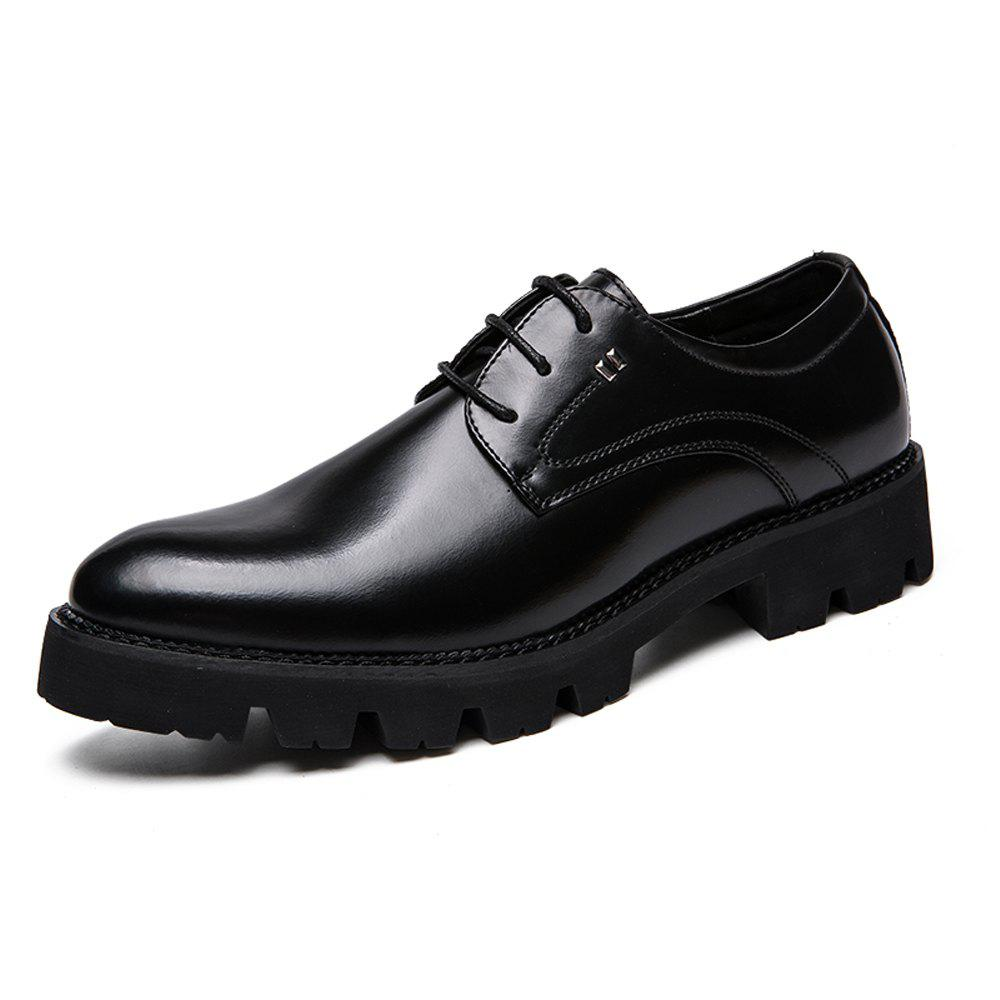 Store Men Gradient Thick Outsole Lace Up Casual Leather Shoes