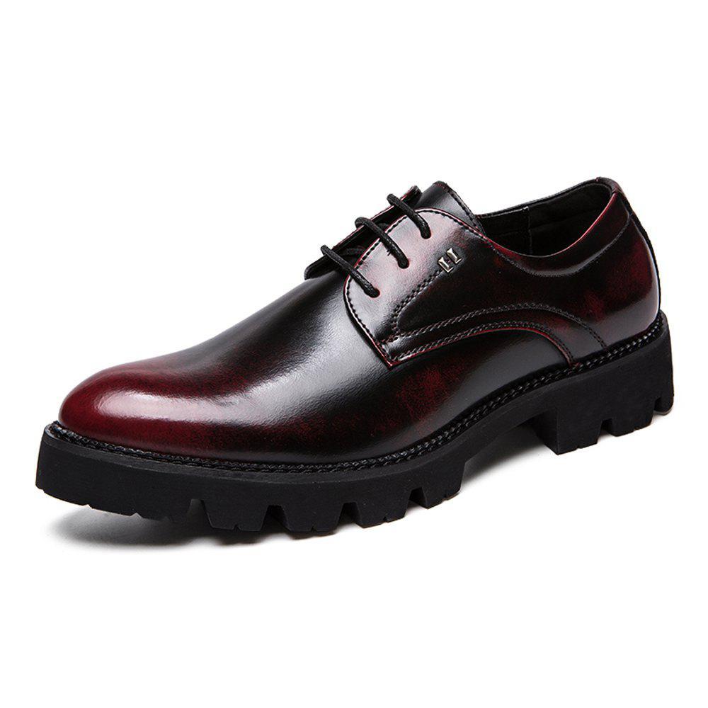 Trendy Men Vintage Gradient Thick Outsole Lace Up Casual Leather Shoes