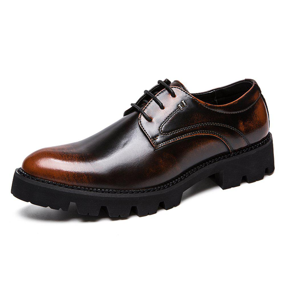Buy Men Vintage Gradient Thick Outsole Lace Up Casual Leather Shoes