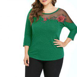 Solid Color Gauze Hollow Out Embroidery Long Sleeve T Shirt -
