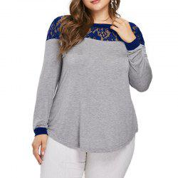 Lace Splicing Long Sleeve T Shirt -