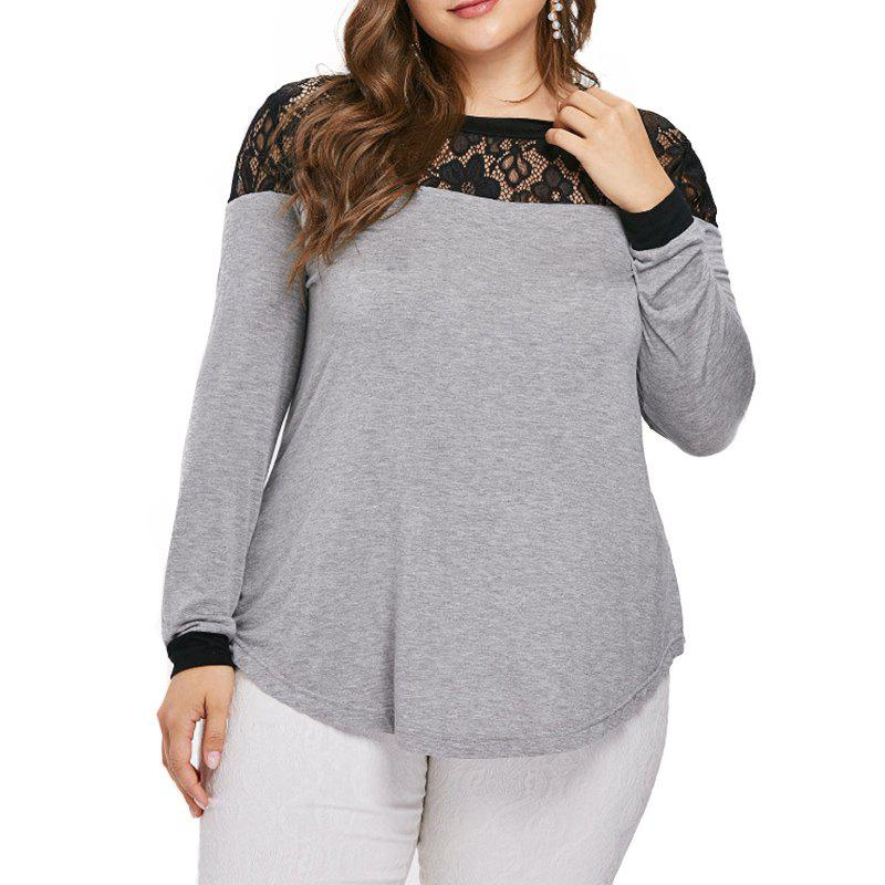 Sale Lace Splicing Long Sleeve T Shirt