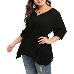 Half Sleeve Tight Waist Blouse -