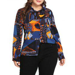 Abstract Design Long Sleeve Lapel Blouse -