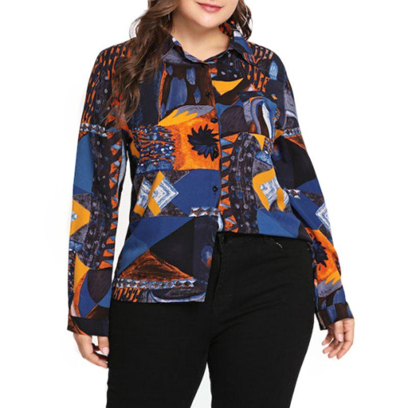 Outfits Abstract Design Long Sleeve Lapel Blouse