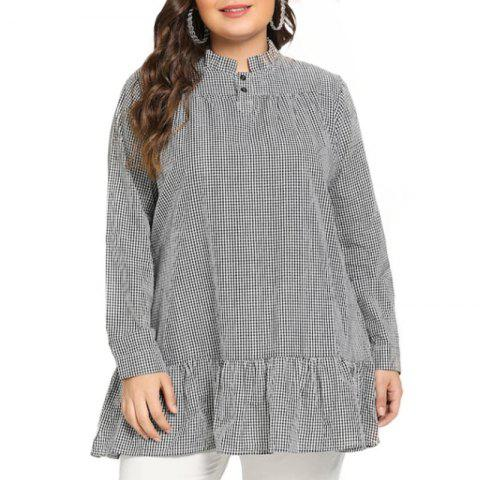 4d2ac2f903a62 Plaid Stringy Selvedge Long Sleeve Pullover Blouse