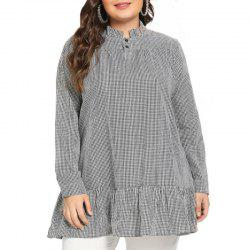 Plaid Stringy Selvedge Long Sleeve Pullover Blouse -