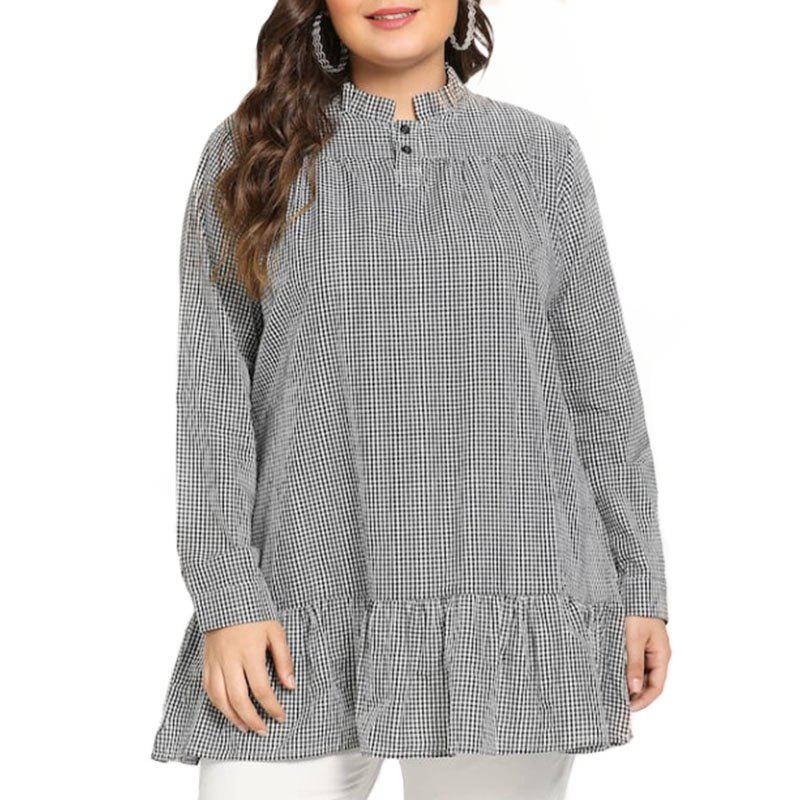Hot Plaid Stringy Selvedge Long Sleeve Pullover Blouse