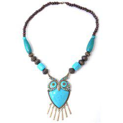 Blue Acrylic Copper Alloy Owl Wood Bead Necklace -