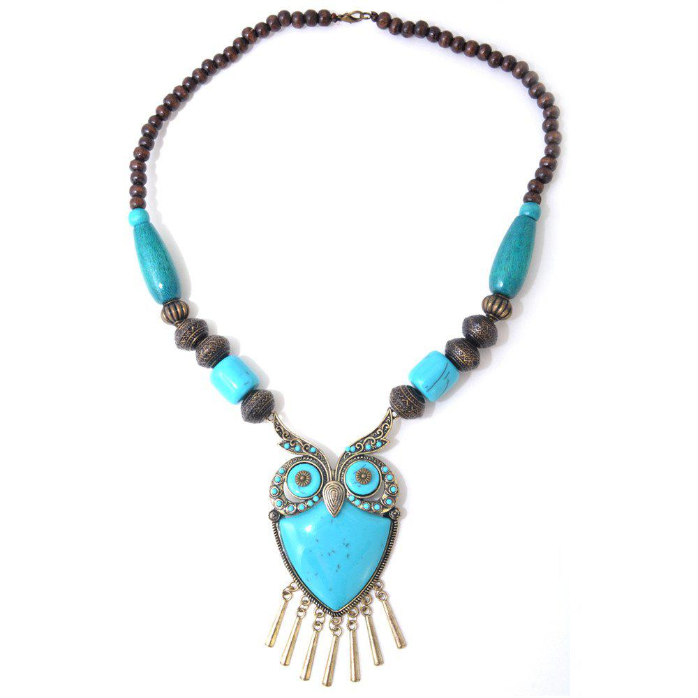 Affordable Blue Acrylic Copper Alloy Owl Wood Bead Necklace