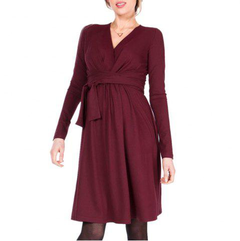 Maternity V Neck Solid Color with Belt Long Sleeve Suckle Swing Dress