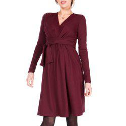 Maternity V Neck Solid Color with Belt Long Sleeve Suckle Swing Dress -