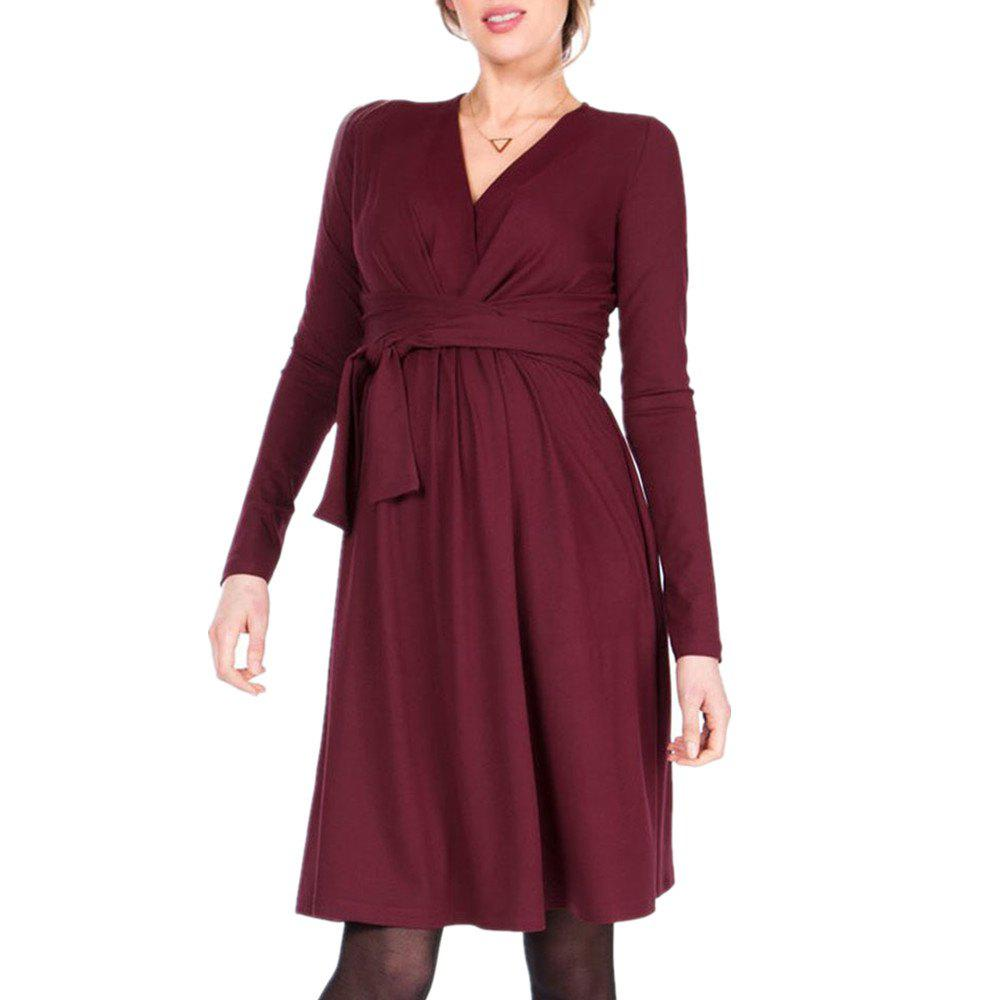 Fancy Maternity V Neck Solid Color with Belt Long Sleeve Suckle Swing Dress