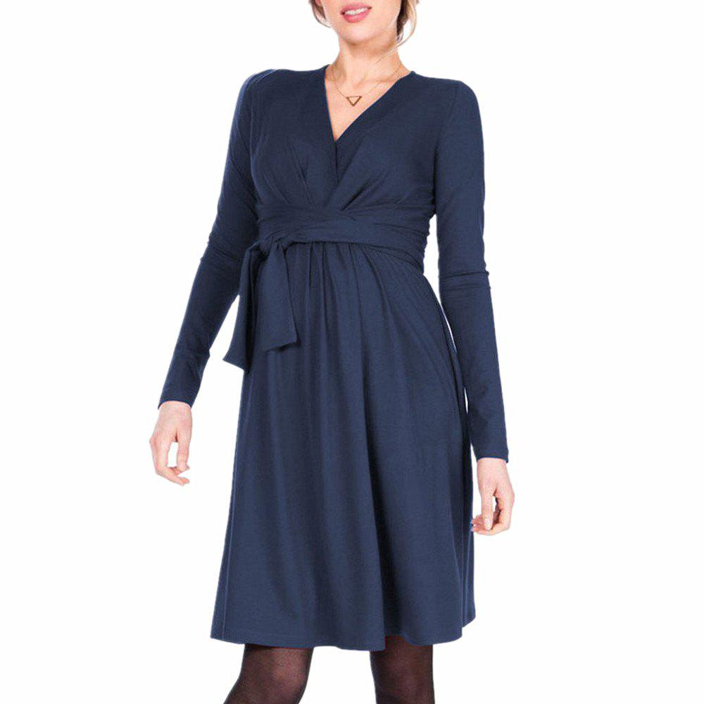 Chic Maternity V Neck Solid Color with Belt Long Sleeve Suckle Swing Dress