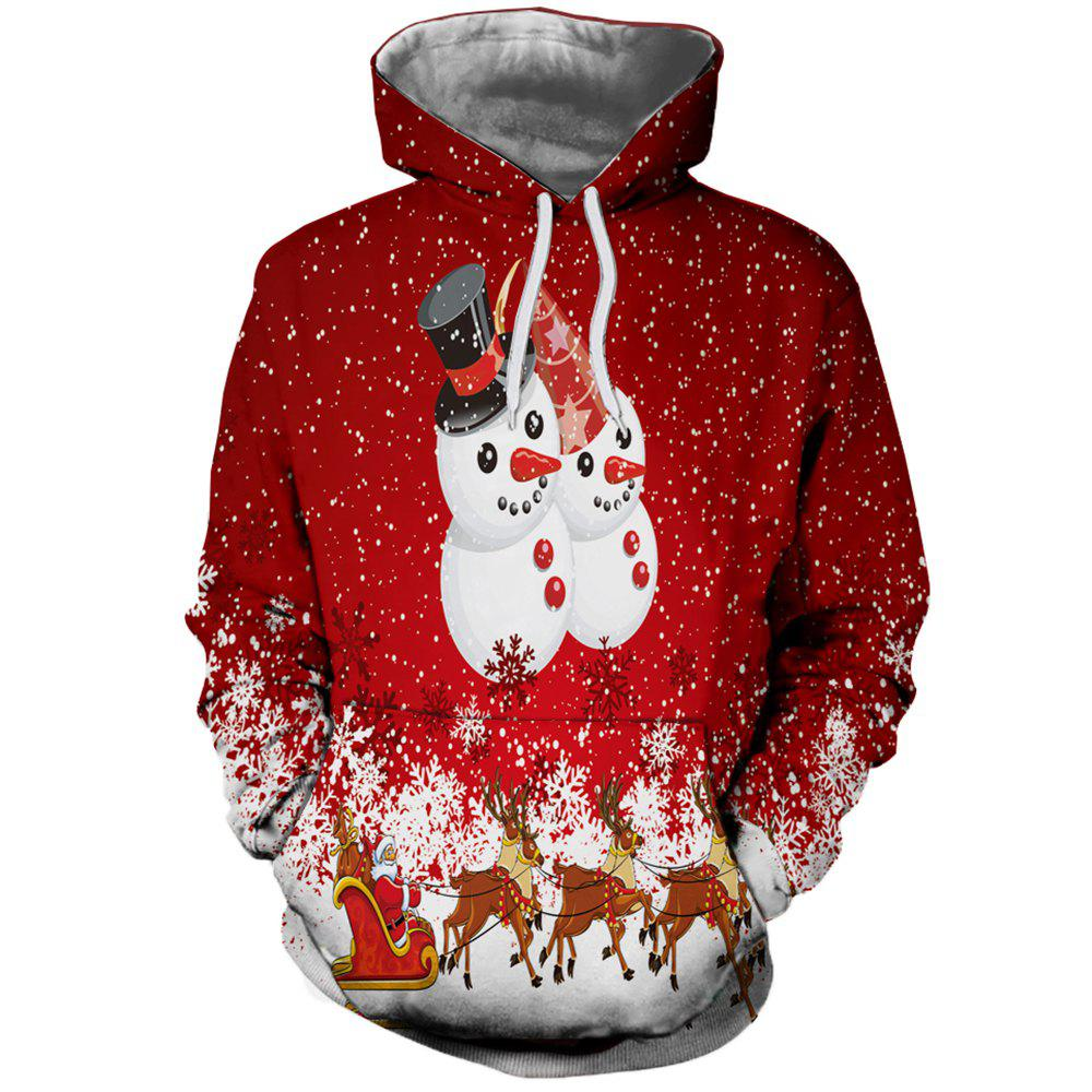 Мода Lady Digital Print Рождественский снеговик Hoodie