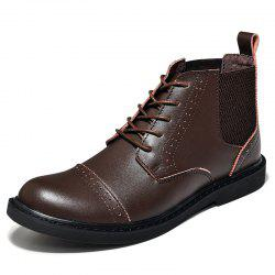 Men Bullock Leather High-Top Business Casual Shoes -