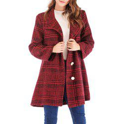 Plaid Tweed Single Breasted Long Sleeve Woollen Coat -