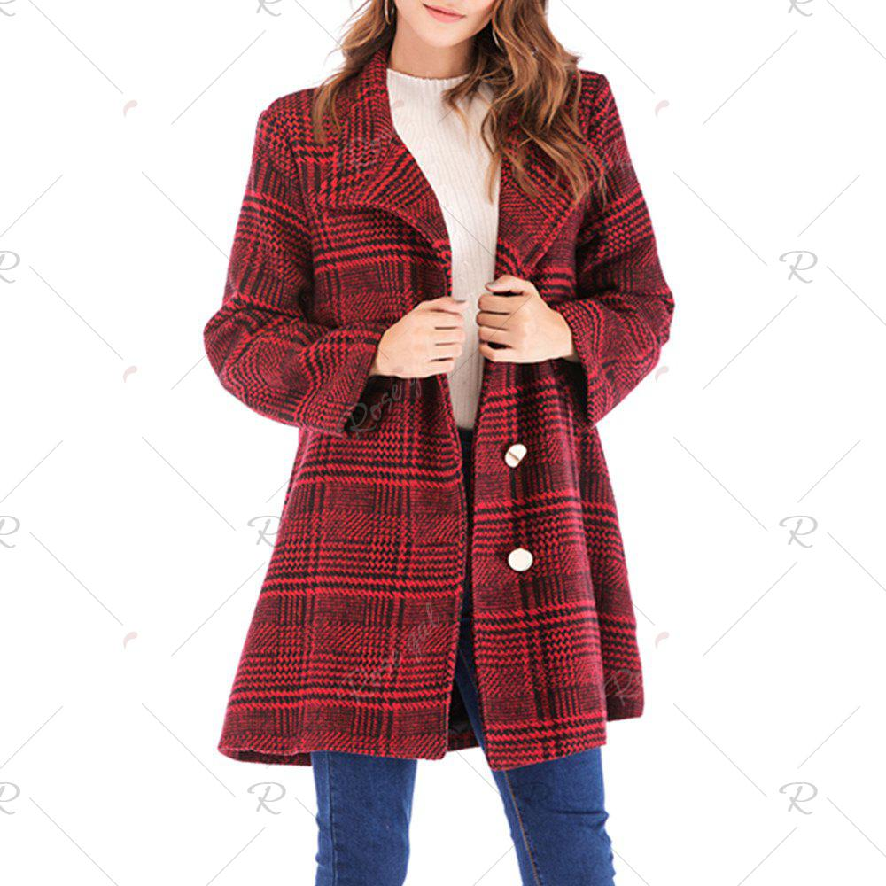 Trendy Plaid Tweed Single Breasted Long Sleeve Woollen Coat