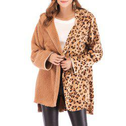 Double Pile Panther Print Long Sleeve Jacket -