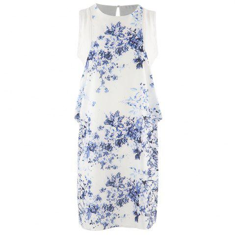 HAODUOYI Women's Blue and White Porcelain Printed Chiffon Dress Multicolor