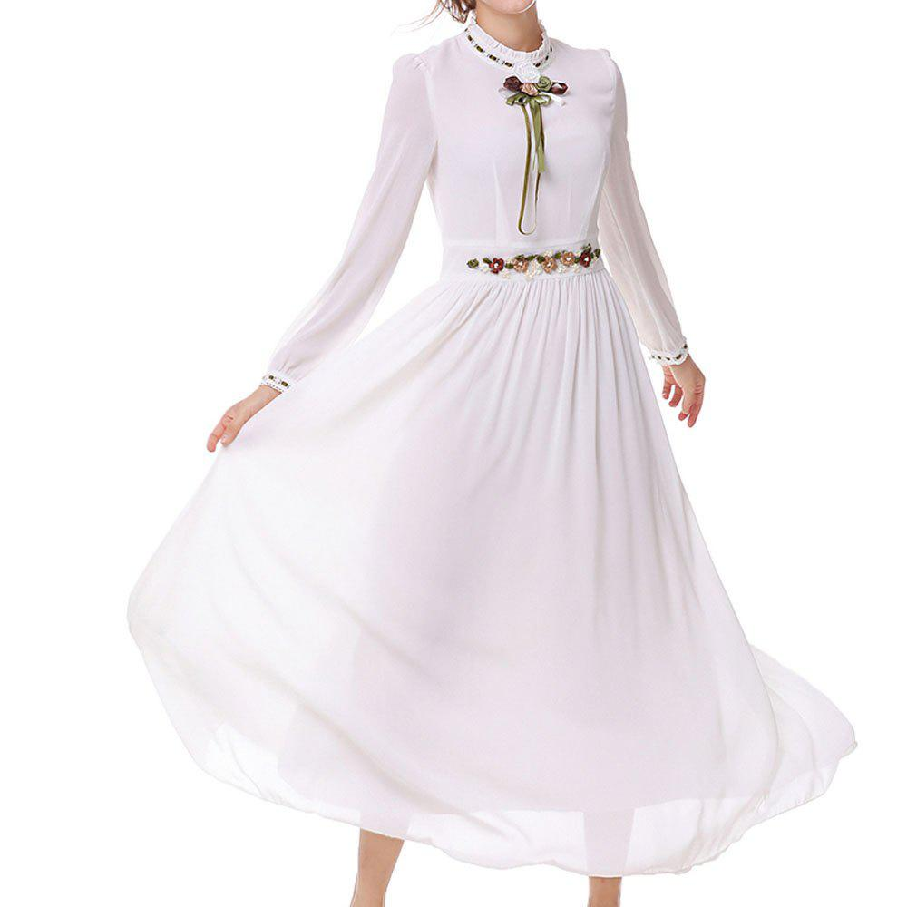7d7ede977d Chic Moshine New Femininity Long-Sleeved Embroidered Swing Elegant Dress
