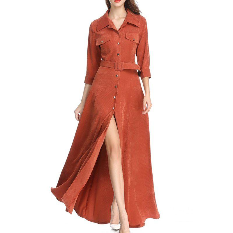 Store Moshine 2018 New Dress Corduroy Simple Solid Color and Long Skirt