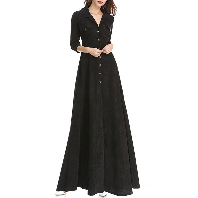 Chic Moshine 2018 New Dress Corduroy Simple Solid Color and Long Skirt