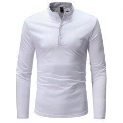 Classic Edging Simple Solid Color Casual Slim Long Sleeve Stand Collar T-Shirt -