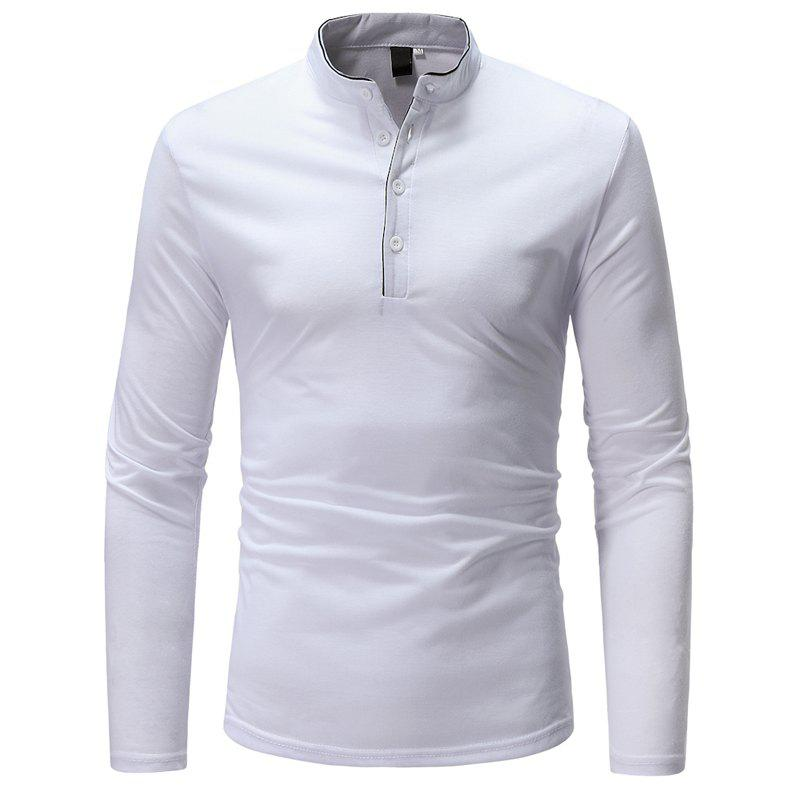 Hot Classic Edging Simple Solid Color Casual Slim Long Sleeve Stand Collar T-Shirt