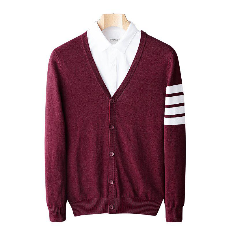 Cheap Casual Cardigan V-neck Sweater Long Sleeve Striped Sweater