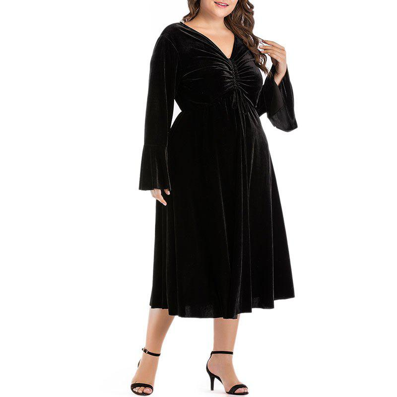 Affordable Solid Color V Collar Flare Sleeve Party Dress
