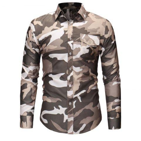 Men's Fashion Camouflage Long Sleeved Lapel Casual Shirts